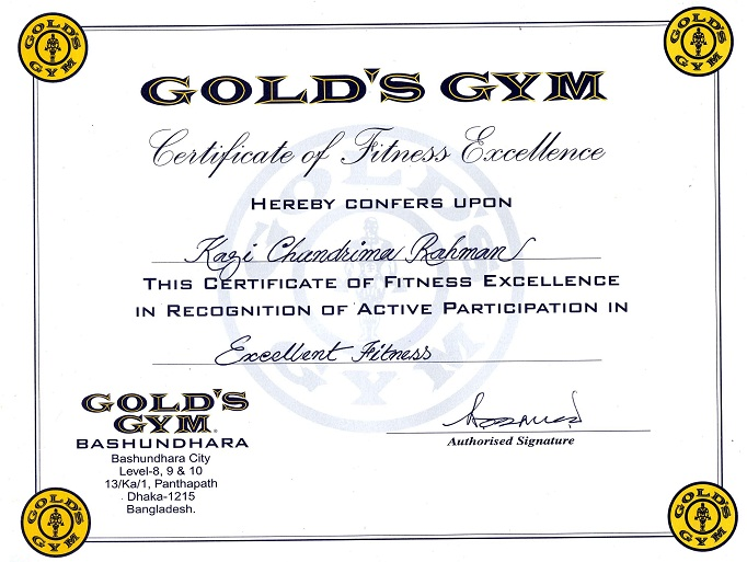 My Certificate and Award from Gold's Gym | Fitness ...